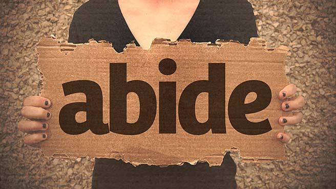 Close up of a sign saying 'Abide', being held by a woman wearing a black dress
