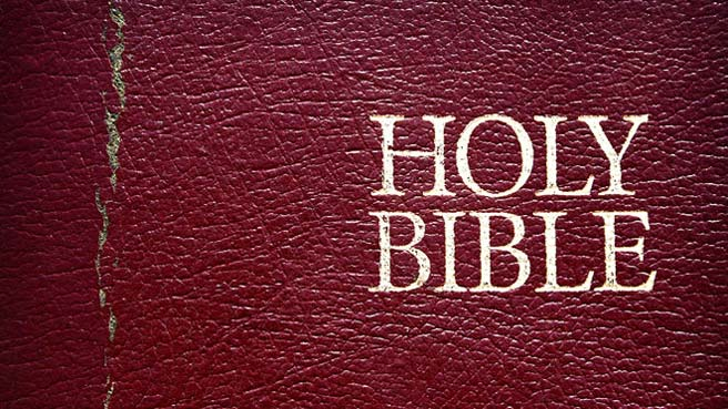 Leather Bible cover with gilded lettering saying Holy Bible