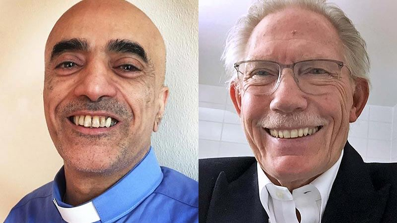 A smiling Hossein in his pastor's dog collar and a a smiling Colin in an adjacent picture