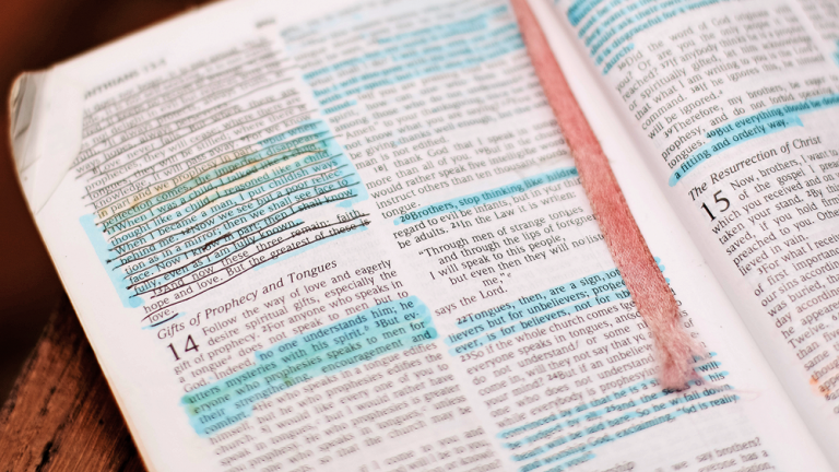 Open bible with verses highlighted and underlined for study