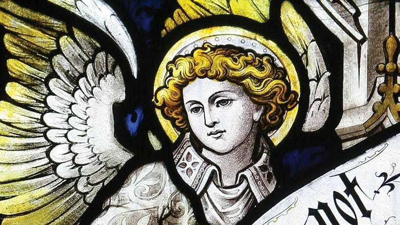 Detail of an angel from a stained glass window in St James