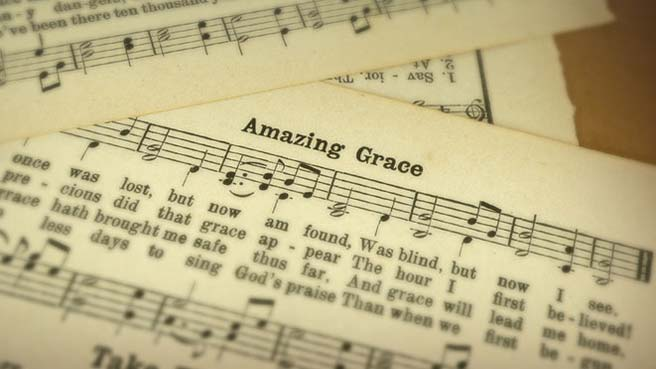 Front page of sheet music for the hymn Amazing Grace