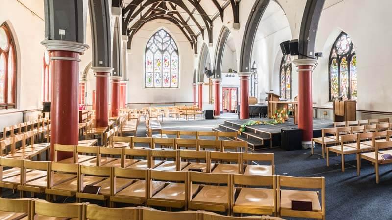 Interior photo of empty church