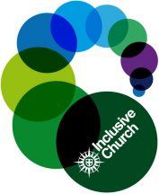 Multicoloured circles of different sizes, with the words 'inclusive church' in the largest green circle