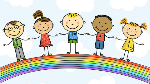Colour drawing of children holding hands satnding on a rainbow
