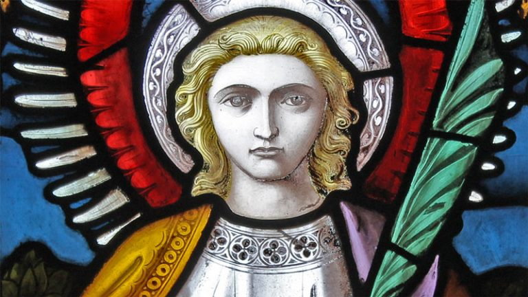 Stained glass window detail of an angel, from Emmanuel,