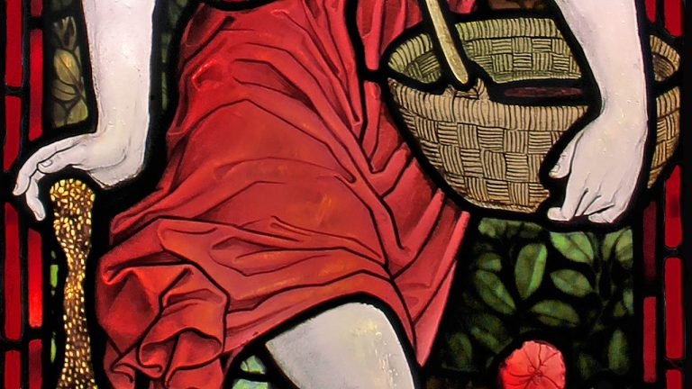 Detail of Emmanuel church stained glass window showing Jesus as the sower