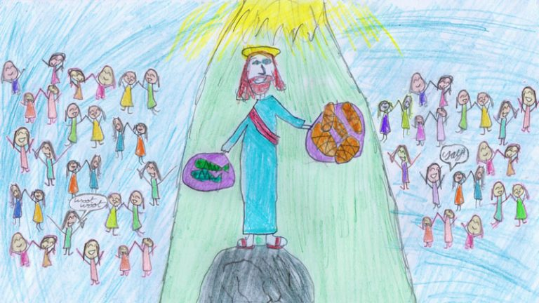 A drawing by Daisy of Jesus blessing the loaves and fishes