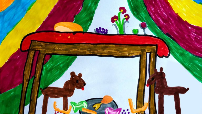 Children's painting of dogs eating scraps underneath a table