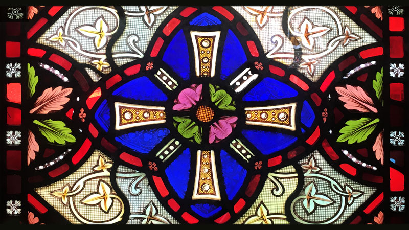Stained glass window from Emmanuel church featuring a geometric pattern