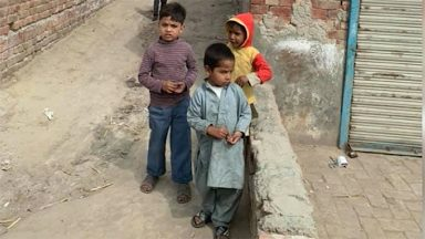 Young children in a Lahore street