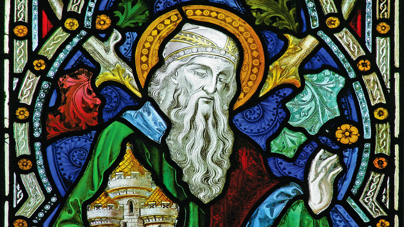 Detail of a stained glass window in Emmanuel depicting an elderly male saint