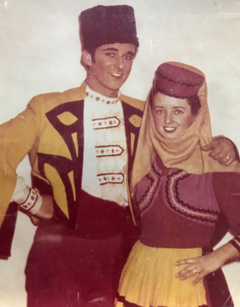 Rod and Dolly wearing theatrical costumes