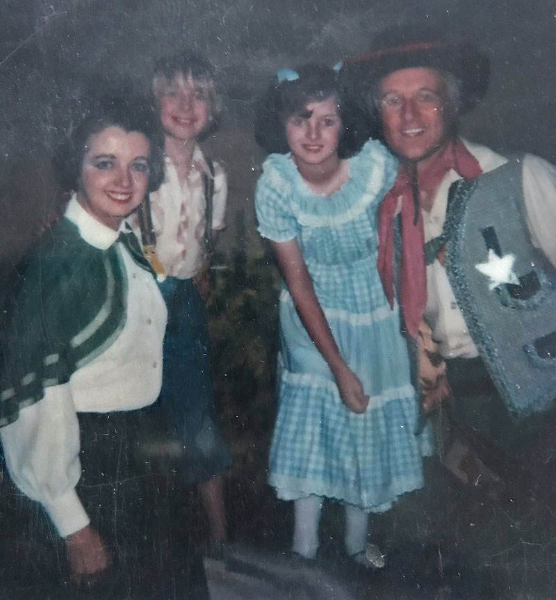 Rod, Dolly, Simon and Louise all dressed in cowboy outfits